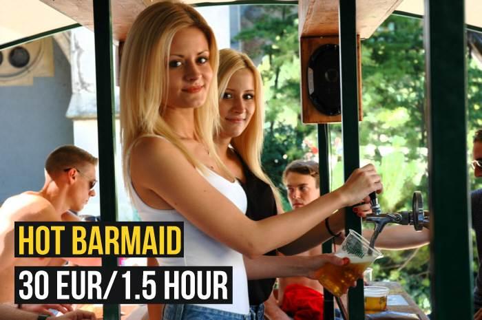 beerbike budapest hot barmaid